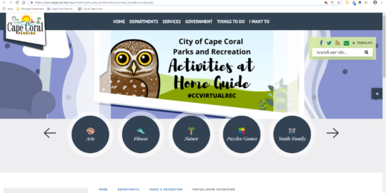 Cape Coral launches virtual home recreation web pages